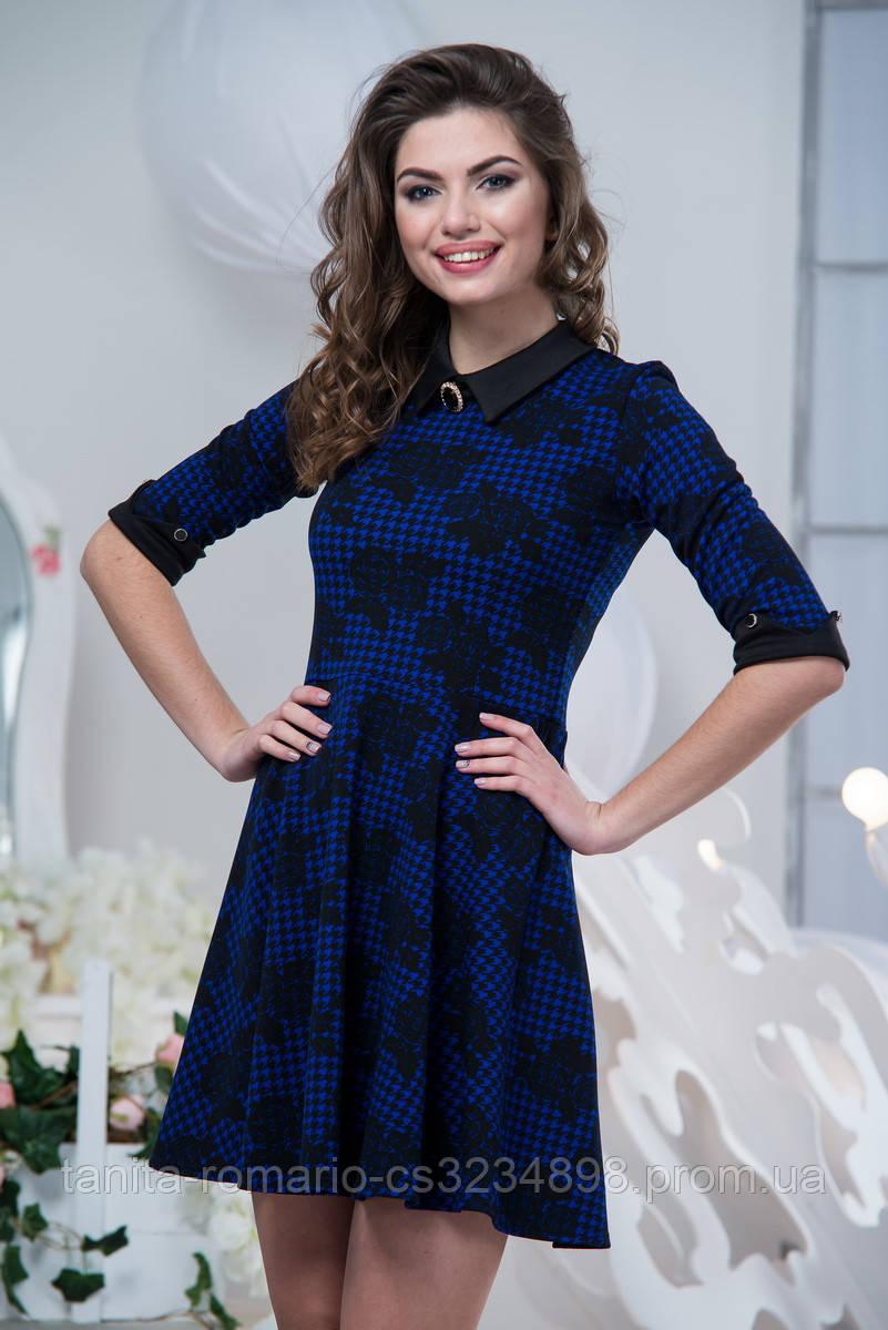 Повседневное платье 5197e Индиго L(р)