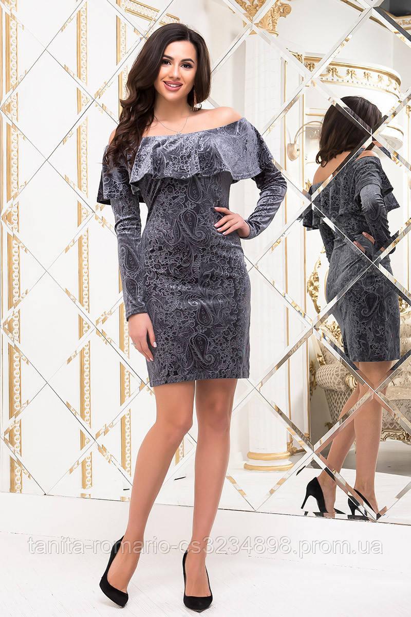 Коктейльное платье 6295e Серый L(р)
