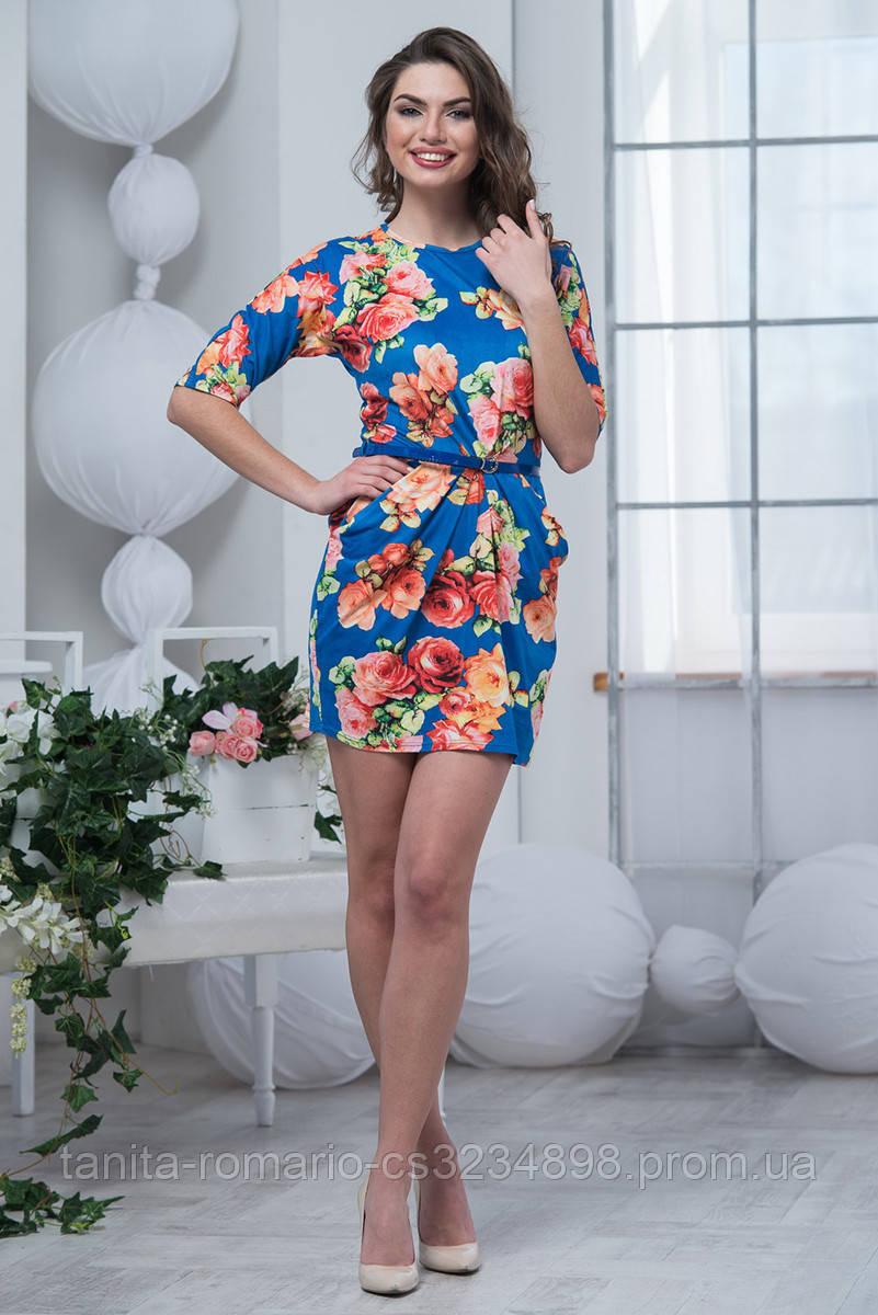 Повседневное платье 6045e Электрик L(р)
