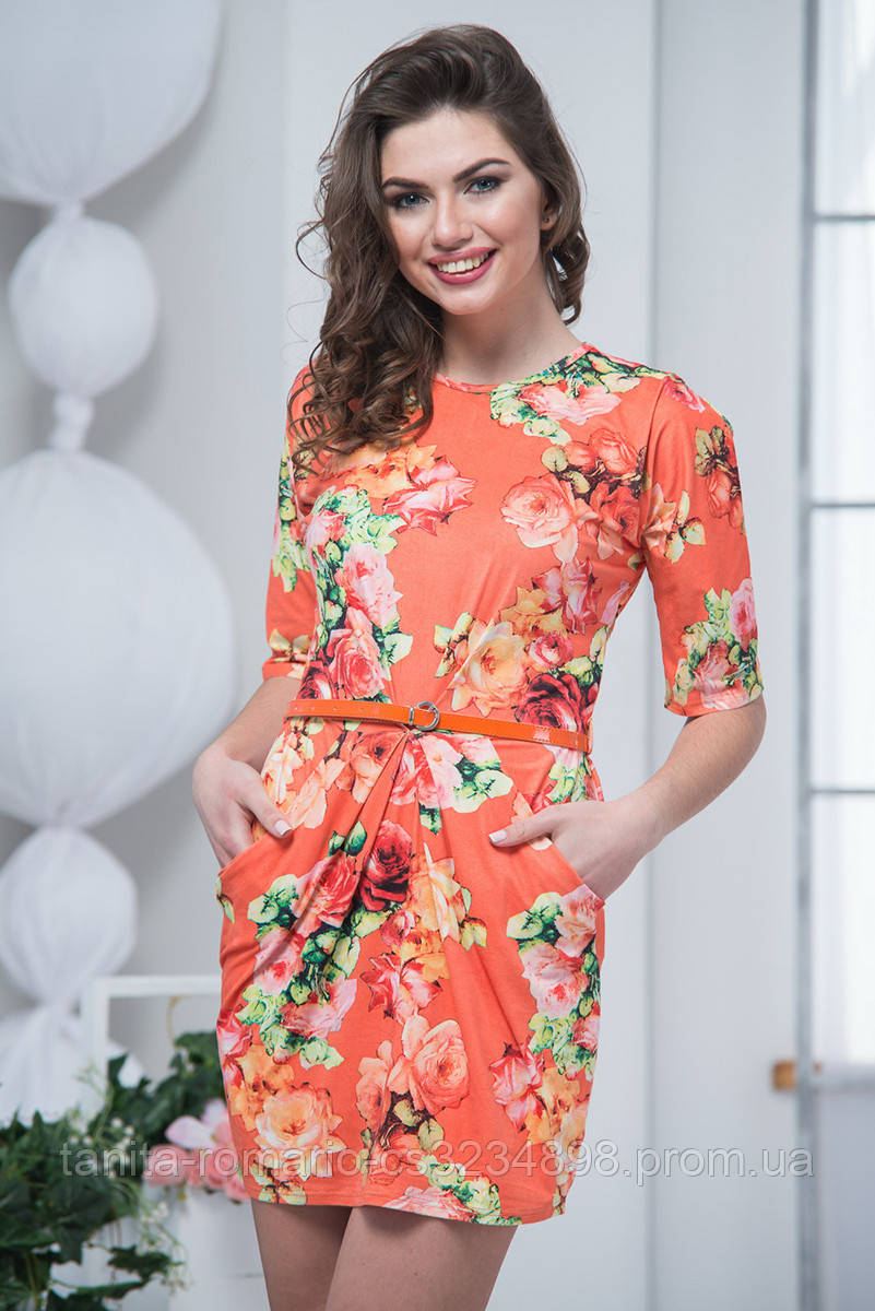 Повседневное платье 6045e Оранжевый L(р)