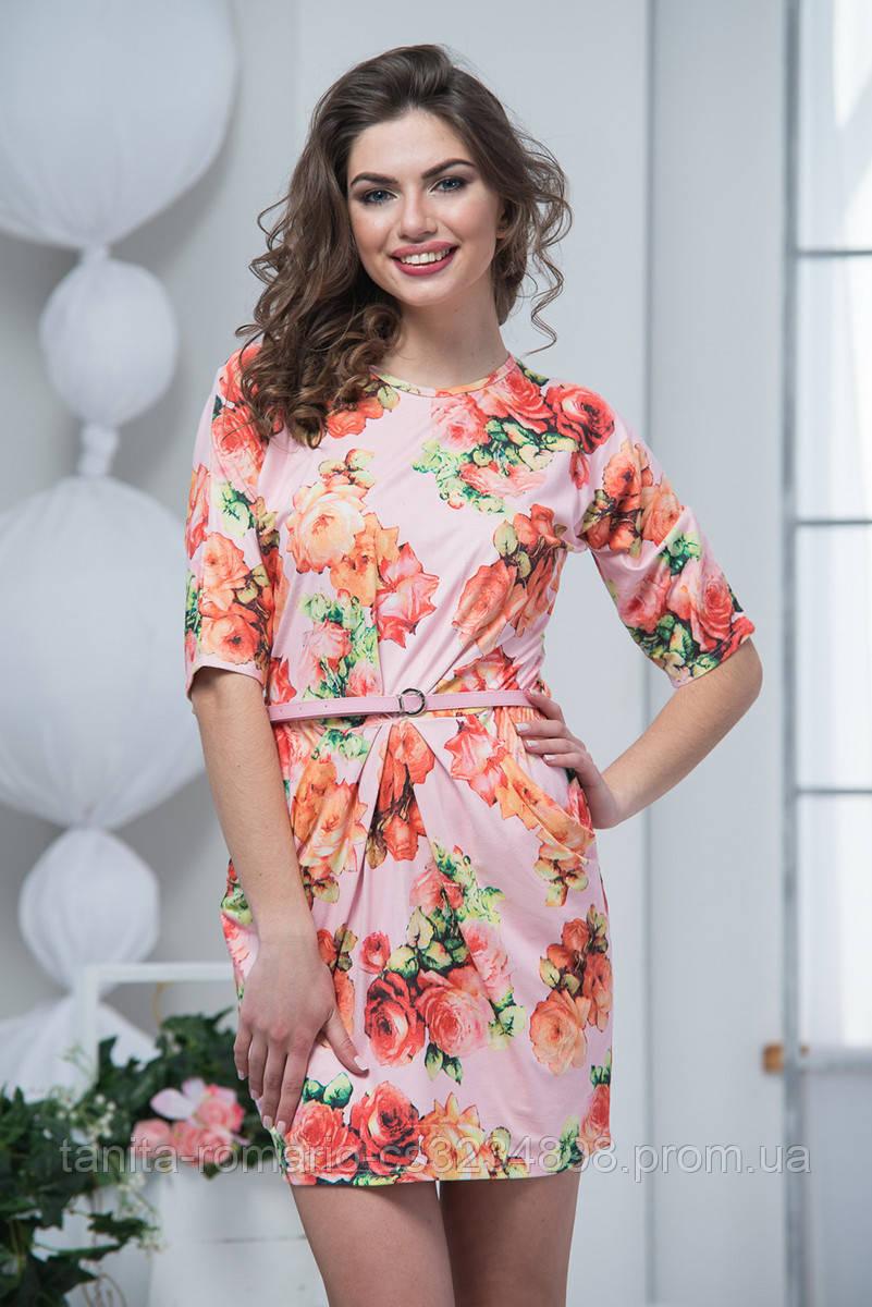 Повседневное платье 6045e Розовый L(р)
