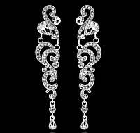 Шикарные серебряные серьги для выпускниц невест с белыми камнями горный хрусталь
