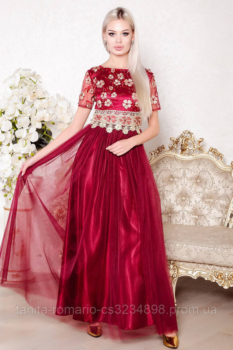 Вечернее платье 8004e Бордо
