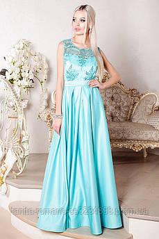 Платье пышное в пол на выпускной вечер мятного цвета