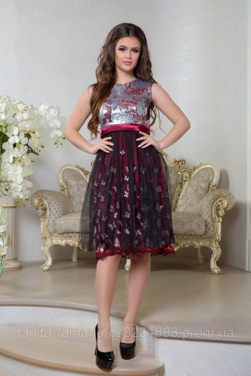 Вечернее платье 8011e Бордо L(р)