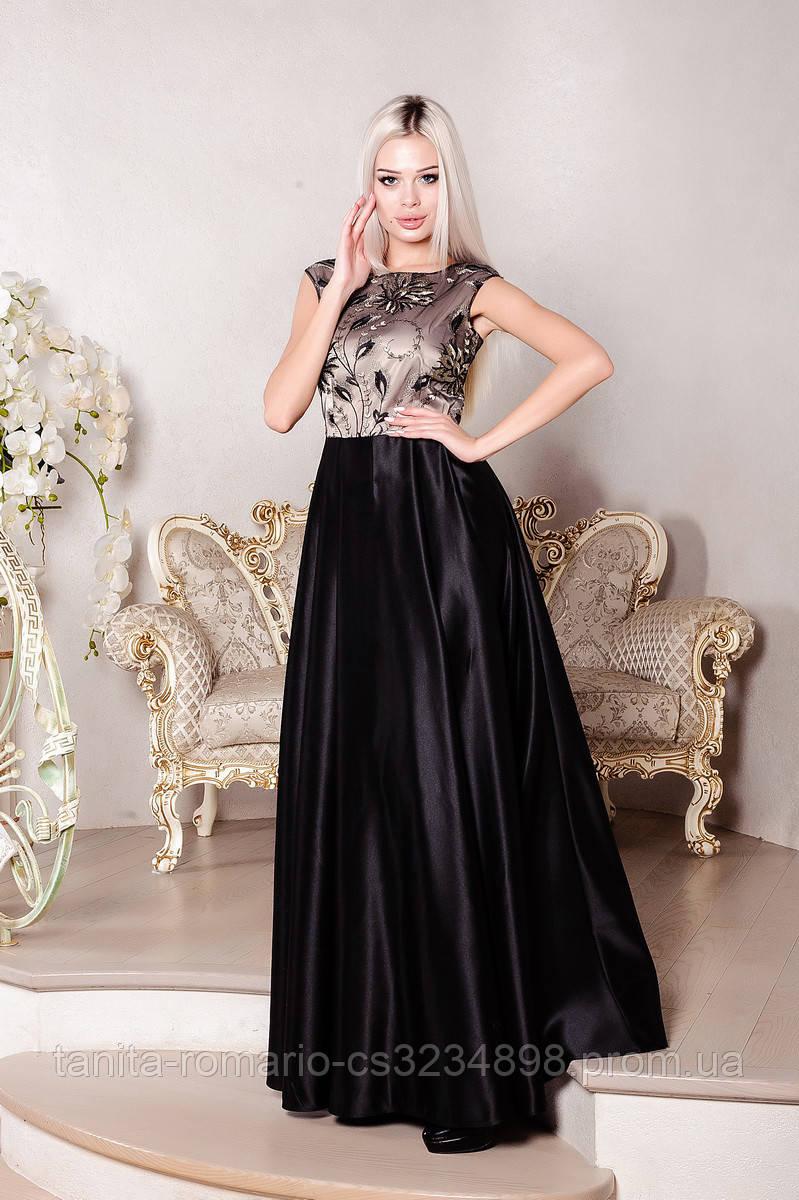 Вечірня сукня з вишивкою чорного кольору