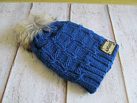 Теплая зимняя шапка с натуральным бубоном двойная вязка, фото 1
