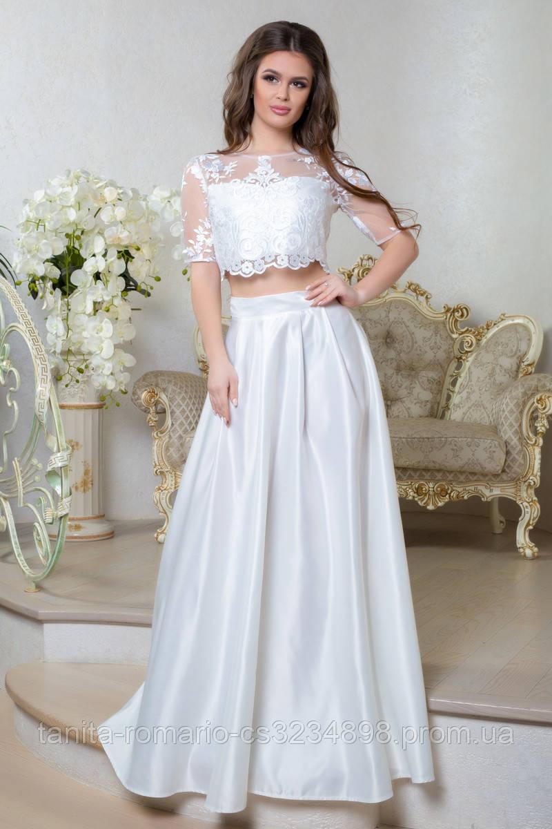 Вечернее платье 8012e Молочный L(р)