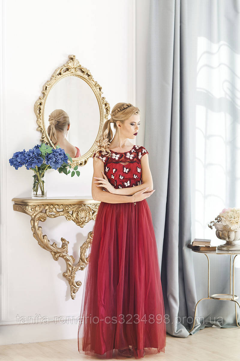 Вечернее платье 7036e Бордо