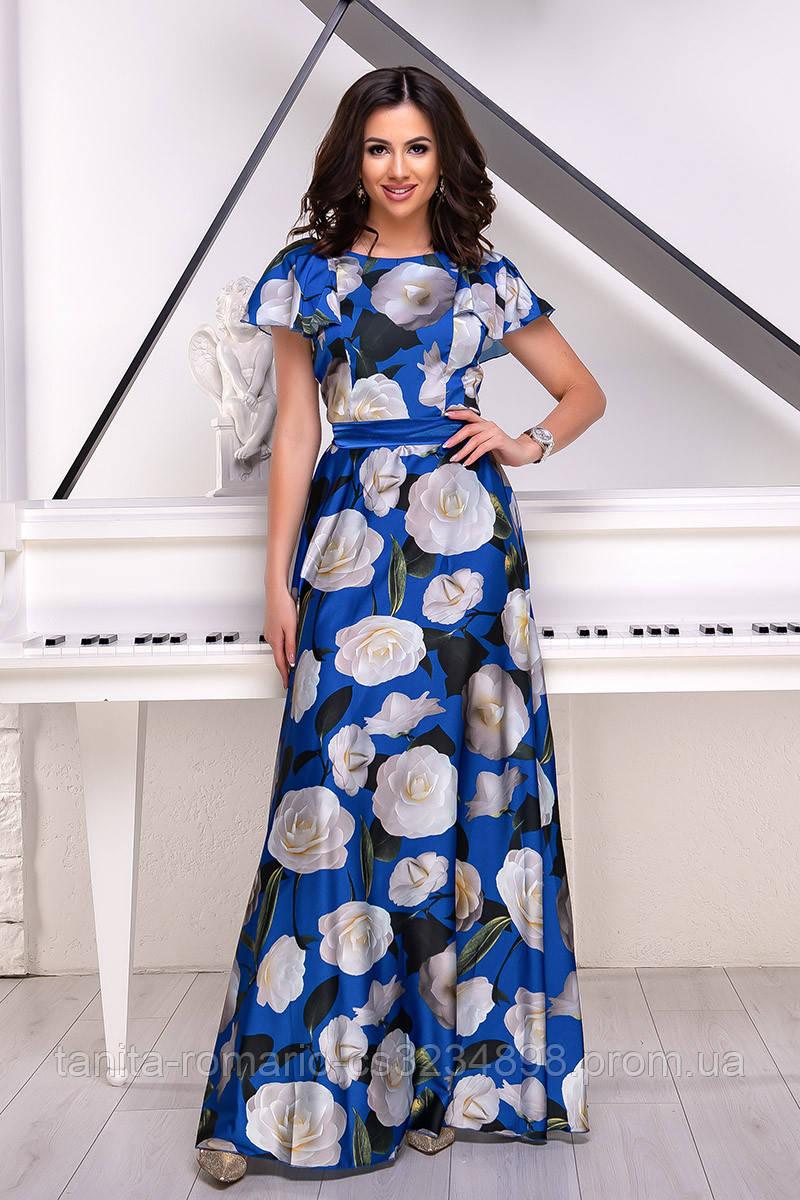 Повседневное платье 7106e Электрик S(р)