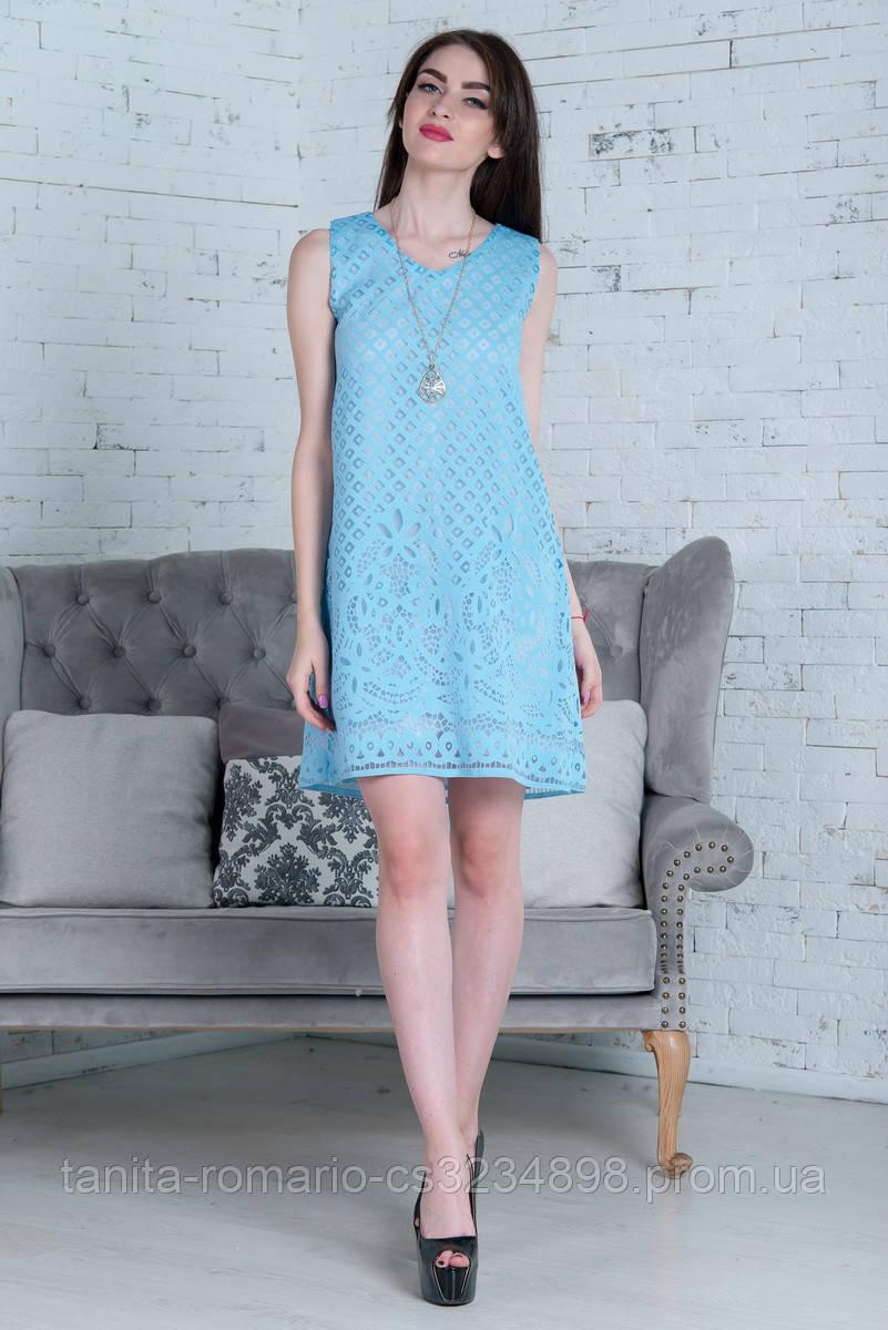 Повседневное платье 7143e Голубой