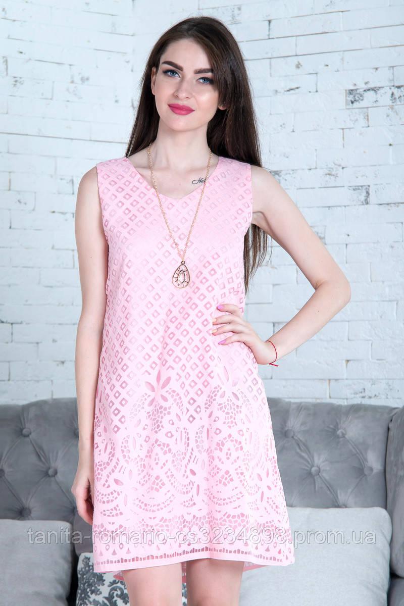 Повседневное платье 7143e Розовый S(р)
