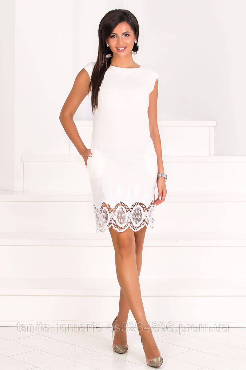 Повседневное платье 7097e Молочный L(р)