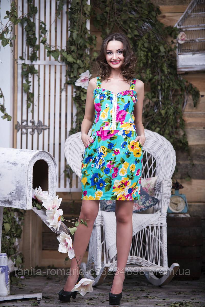 Повседневное платье 4174e Бирюза S(р)