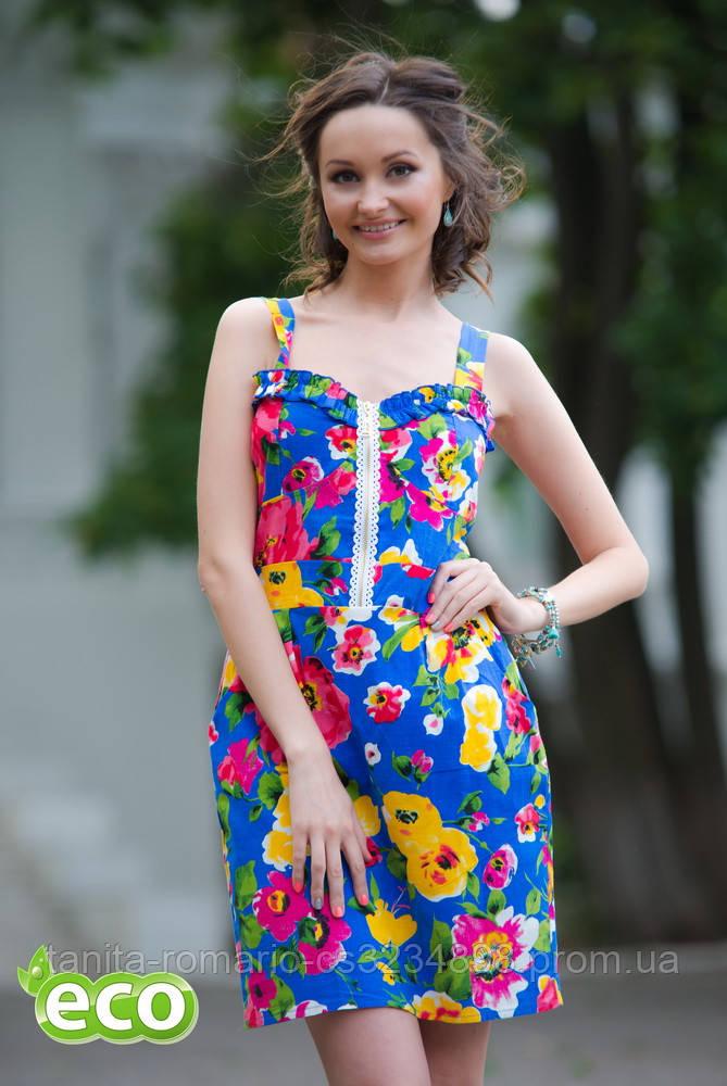 Повседневное платье 4174e Электрик S(р)