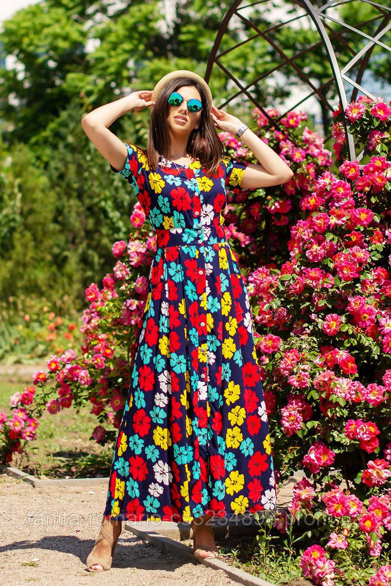 Повседневное платье 5143e Синий L(р)