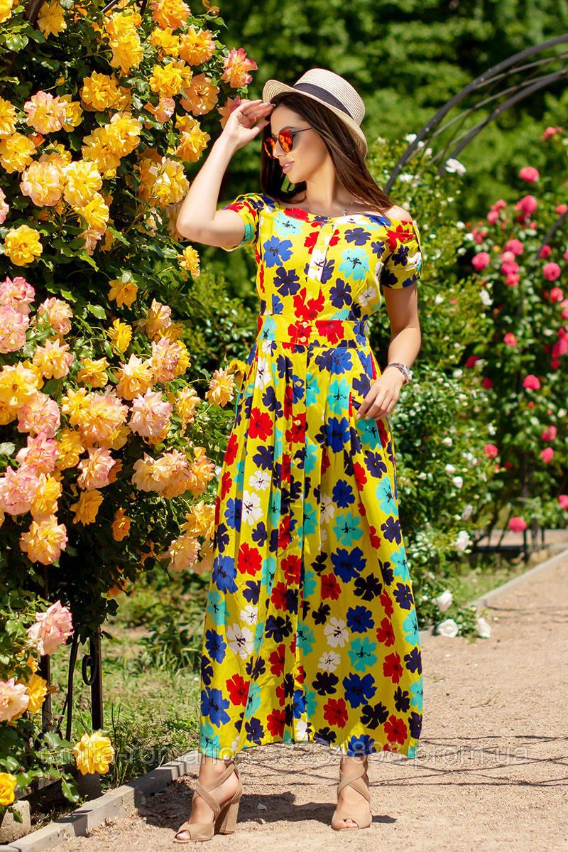 Повседневное платье 5143e Горчица L(р)