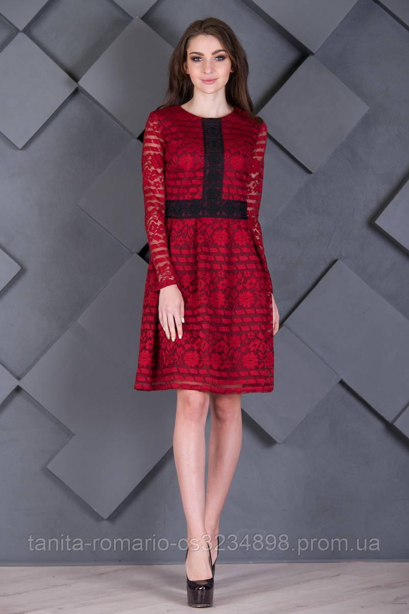 вседневное платье орнамент  Бордо