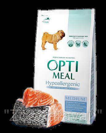 Сухой корм Opti Meal гипоаллергенный для взрослых собак средних пород (10-25 кг) с лососем, 12 кг, фото 2