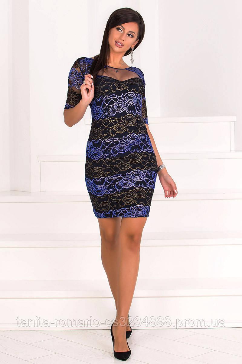 Коктейльное платье 7164e Чёрный/золото L(р)