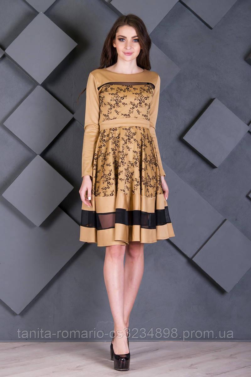 Повседневное платье 7219e Горчица S(р)