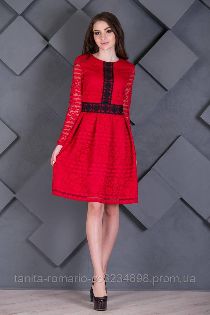вседневное платье орнамент  Красный