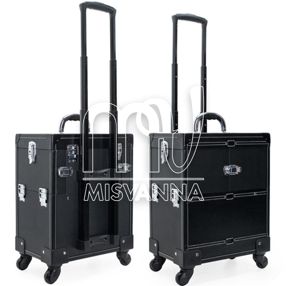 Чемодан, сумка мастера, кейс для визажа большой на колесиках, черный крокодил