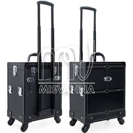 Чемодан, сумка мастера, кейс для визажа большой на колесиках, черный крокодил, фото 2