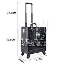 Чемодан, сумка мастера, кейс для визажа большой на колесиках, черный крокодил, фото 3
