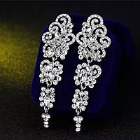 Изящные серебряные вечерние серьги с белыми камнями горный хрусталь для невест, выпускниц