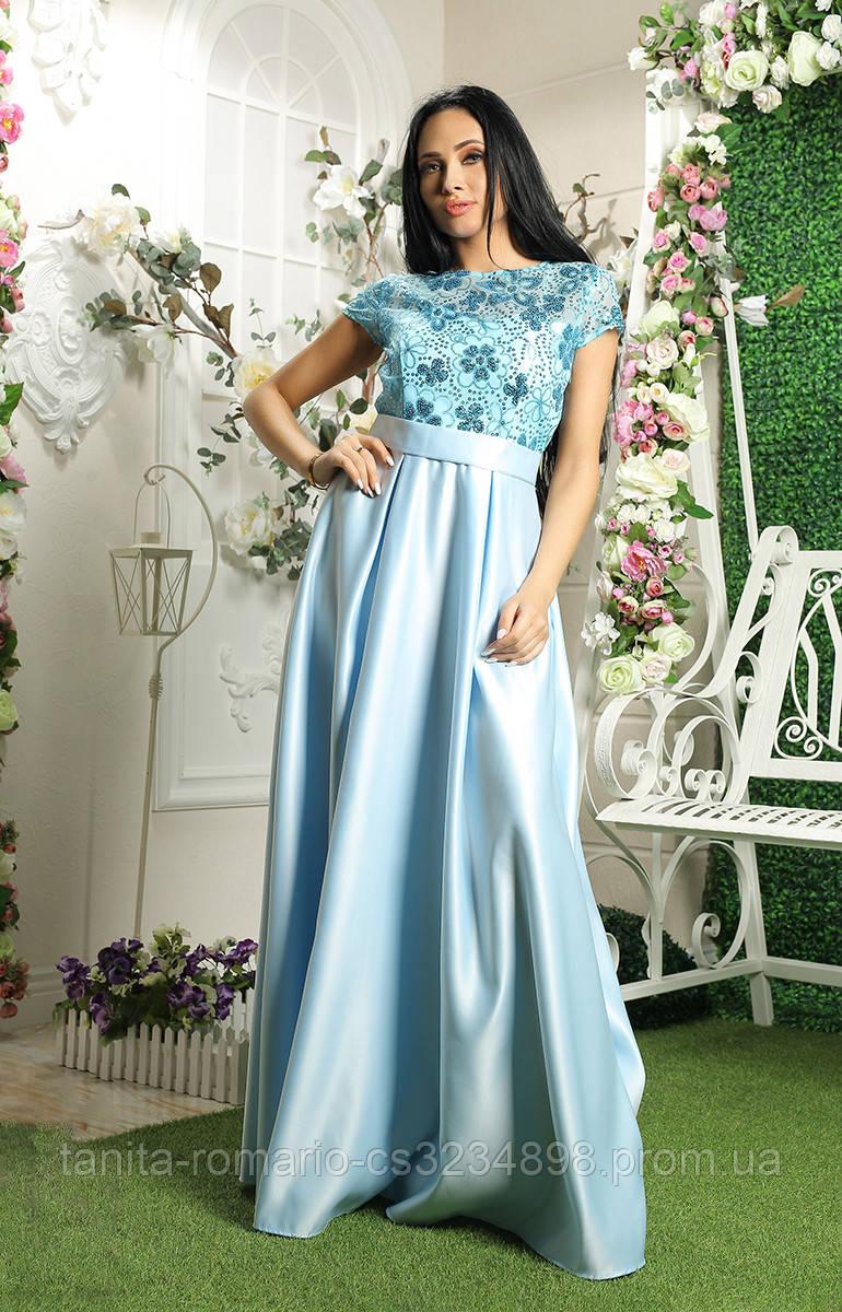 Вечернее платье 8052e Голубой L(р)