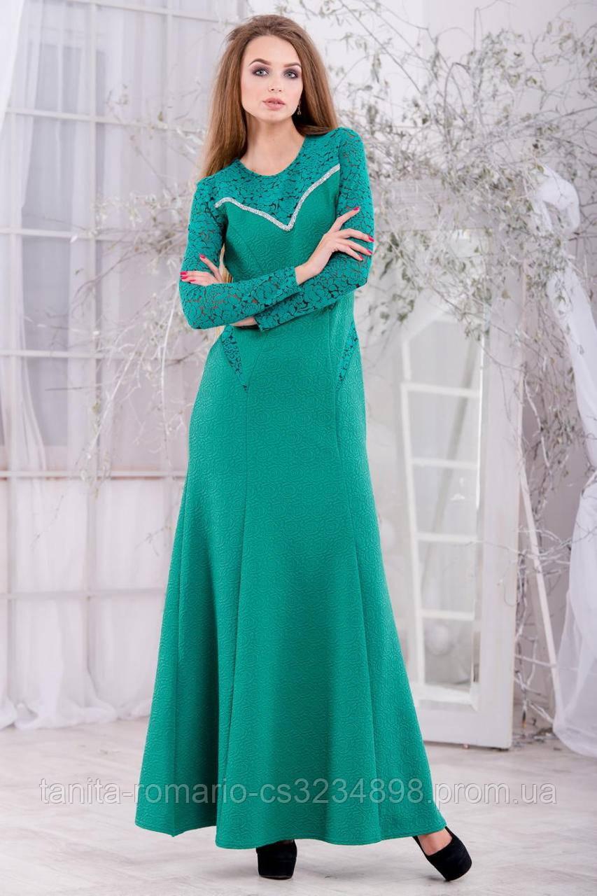 Вечернее платье трикотажное зеленое