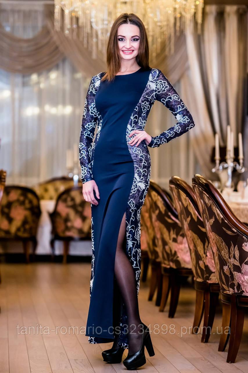 Вечернее платье 4350e Синий S(р)