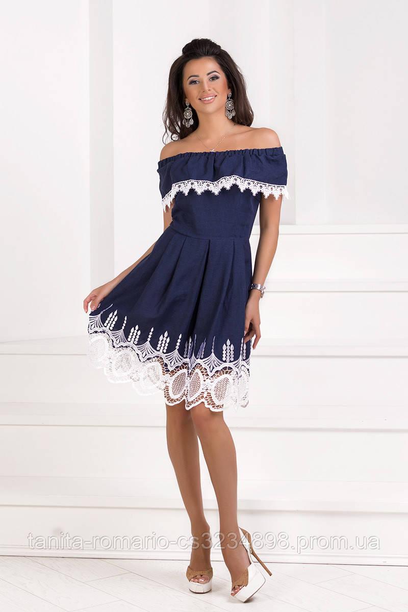 Повседневное короткое платье Синий
