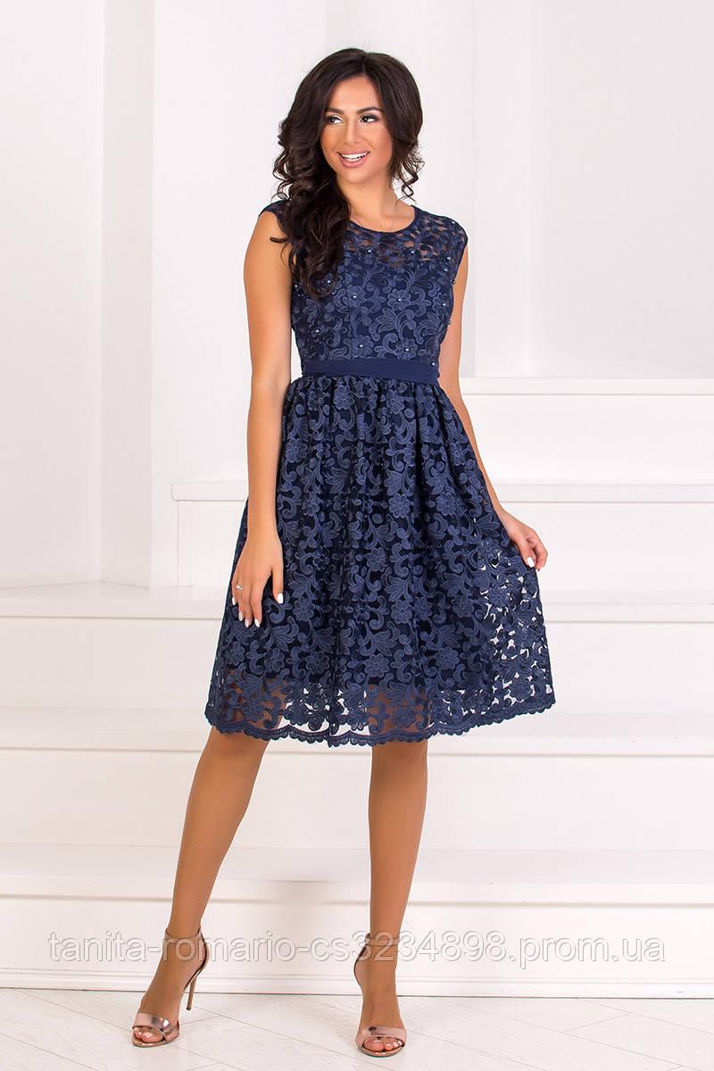Коктейльное платье 8075e Синий L(р)