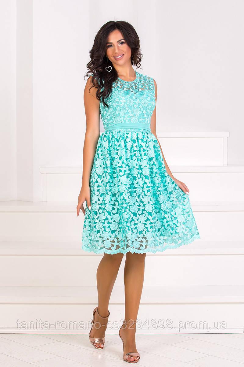 Коктейльное платье 8075e Мятный S(р)