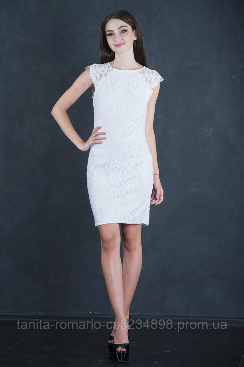 Коктейльное платье 7139e Молочный M(р)