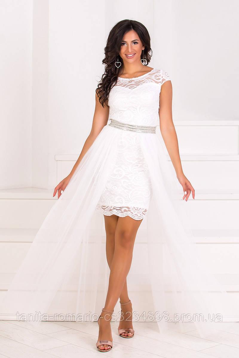 Коктейльное платье 8065e Молочный  S M L