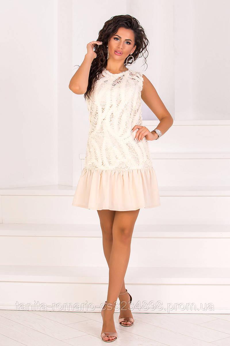 Повседневное платье 8098e Бежевый M(р)