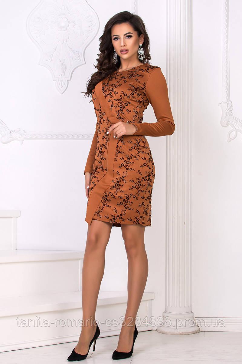 Повседневное платье 7224e Коричневый L(р)