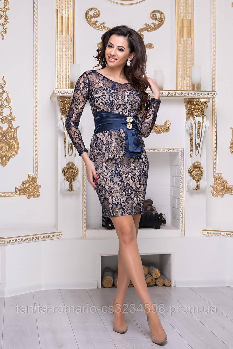 Коктейльное платье 4396e Бежевый S(р)