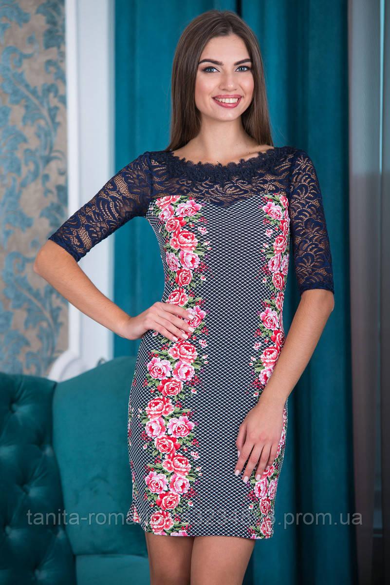 Коктейльное платье 6177e Розовый S(р)