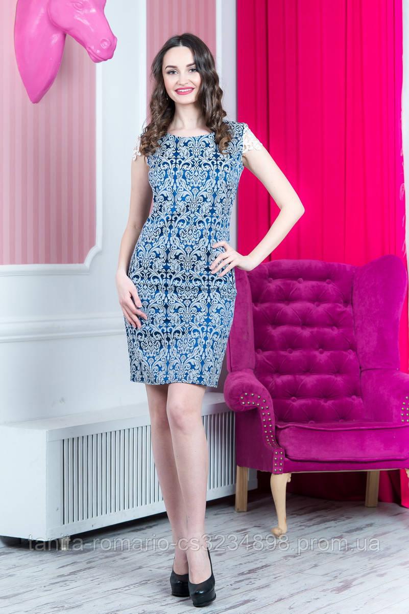Повседневное платье 6137e Синий/серебро M(р)