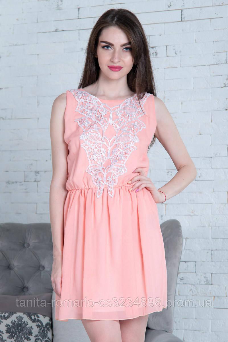 Повседневное платье 5157e Персиковый M(р)