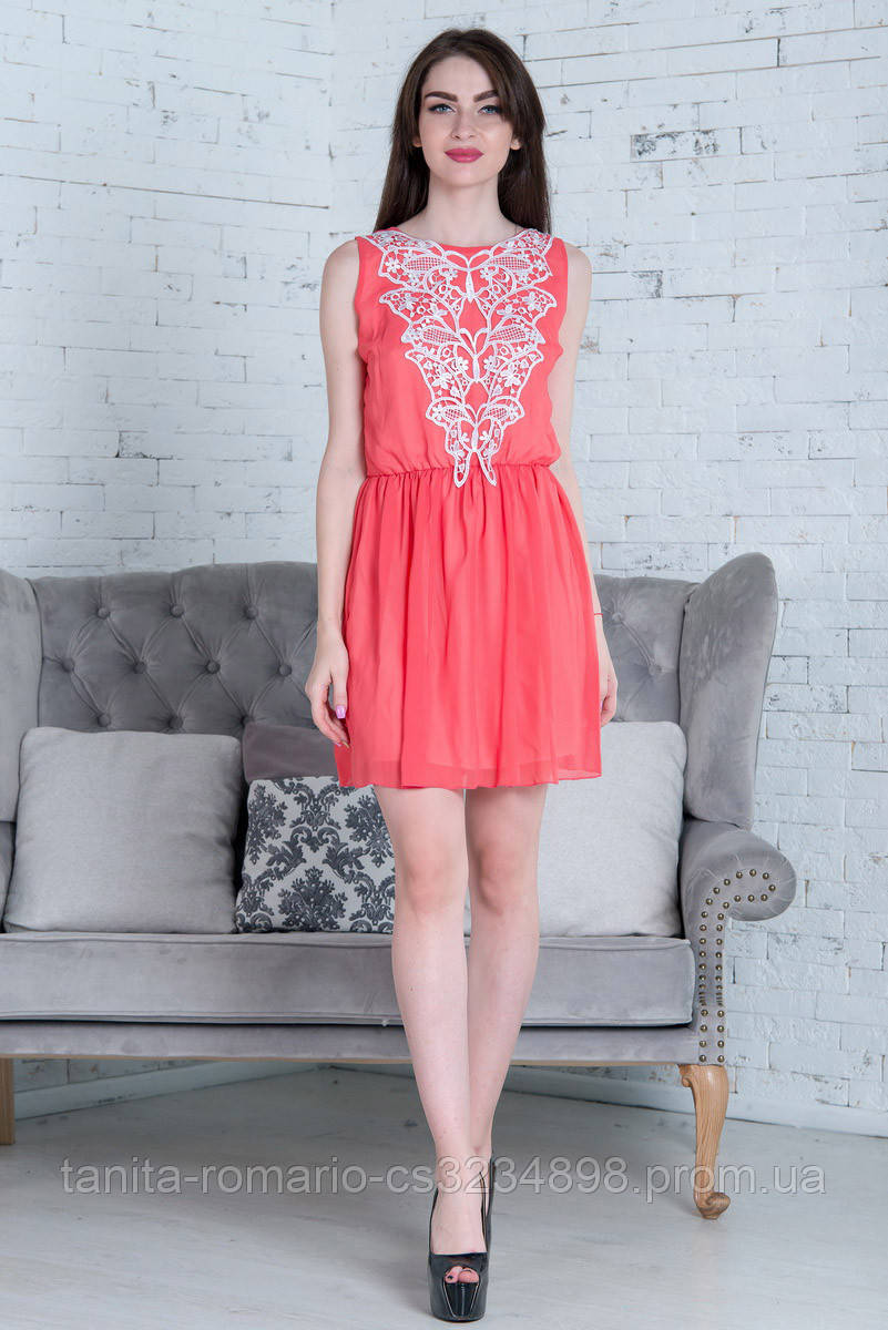 Повседневное платье 5157e Коралловый M(р)