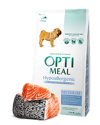 Сухой корм Opti Meal гипоаллергенный для взрослых собак средних пород (10-25 кг) с лососем, 1,5 кг