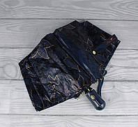 Шикарный качественный складной зонт автомат Popular 1247-3А синий, цветы и кружево