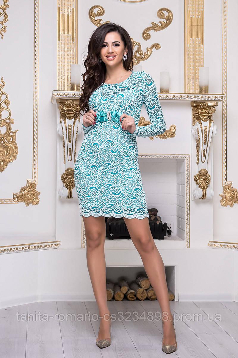 Коктейльное платье 3341e Белый/бирюза L(р)
