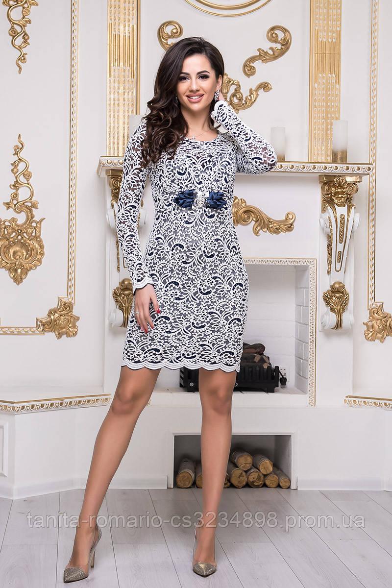 Коктейльное платье 3341e Белый/чёрный M(р)
