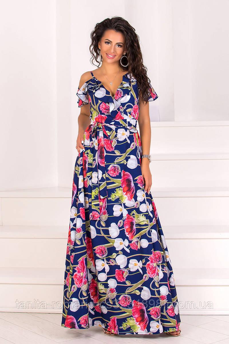 Повседневное платье 8086e Синий S(р)